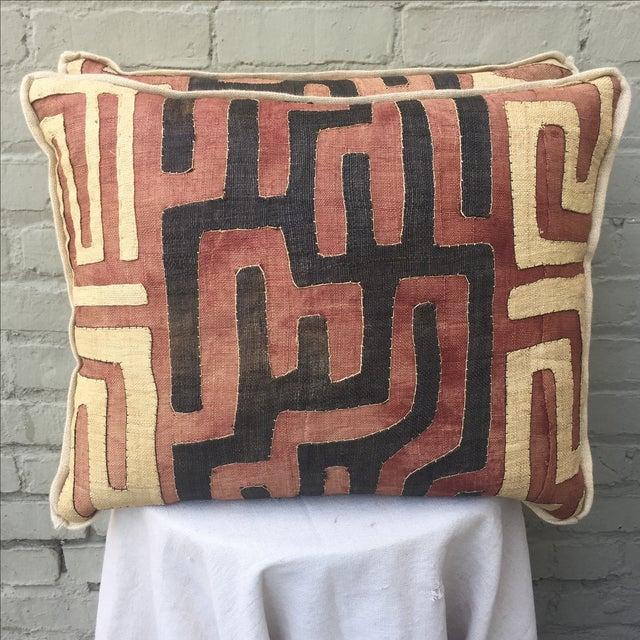 African Kuba Cloth Pillows - A Pair - Image 2 of 5