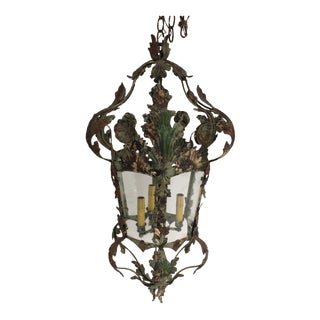 Single Faux Finished Three Light Fixture For Sale