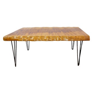 Mid-Century Modern Live Edge Burl Coffee Table With Hairpin Legs For Sale