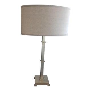 Modern Silver Leaf Pedestal Lamp