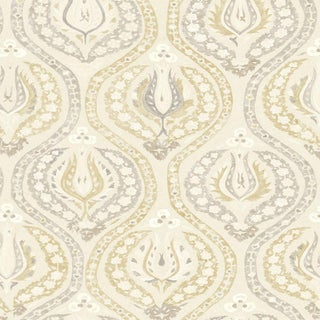 """Lewis & Wood Benaki Beige Biscuit Extra Wide 52"""" Damask Style Wallpaper Sample For Sale"""