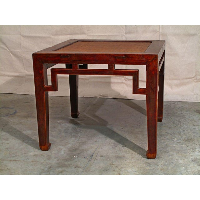 Asian A Chinese Elm Wood Square Side Table with Rattan Top For Sale - Image 3 of 4