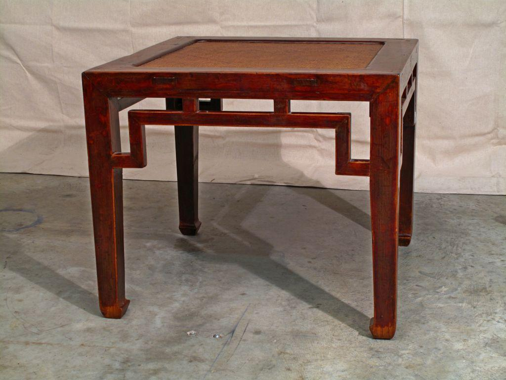 Charmant Asian A Chinese Elm Wood Square Side Table With Rattan Top For Sale   Image  3