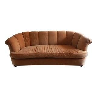 Tangerine Velvet Hollywood Regency Sofa