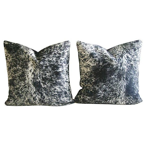 Speckled Black & White Cowhide Pillows - A Pair - Image 1 of 3