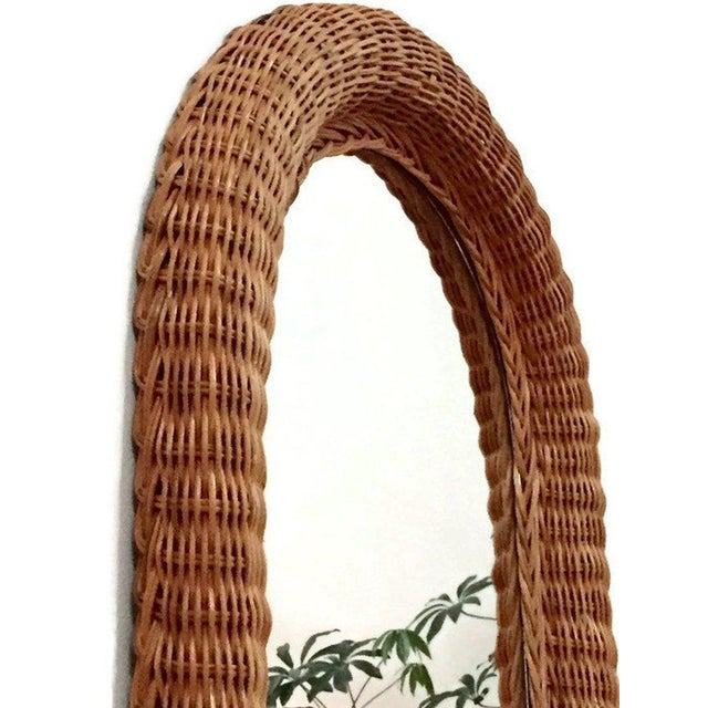Tan Vintage Natural Wicker Rattan Oblong Wall Mirror For Sale - Image 8 of 10