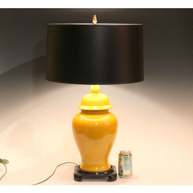 Vintage, large, hand turned, Japanese pottery table lamp in temple jar form with cover and rich yellow crackle glaze,...