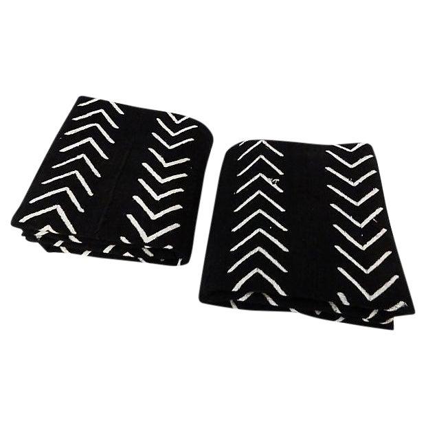Malian Black & White Mud Cloth Textiles - A Pair - Image 1 of 9