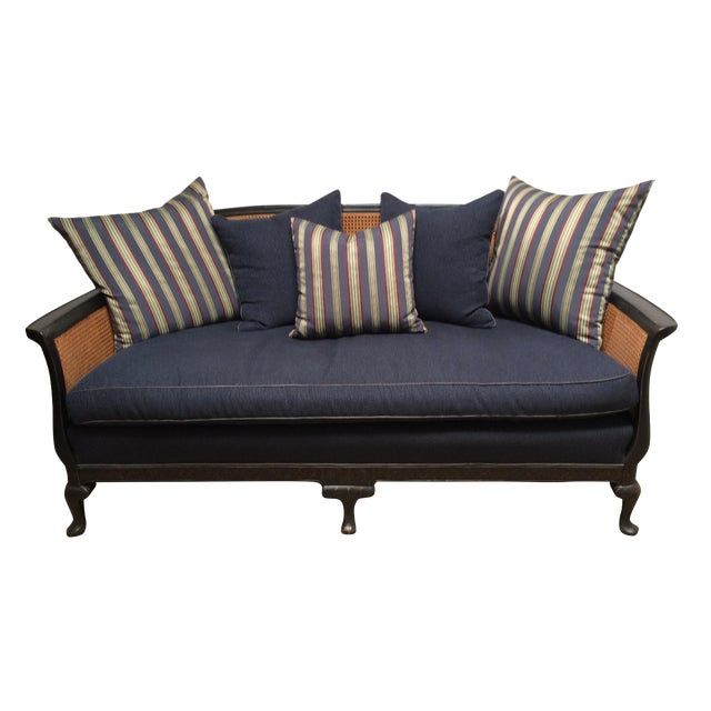 Chinoiserie Cane Back Settee With Pillows - Image 1 of 11
