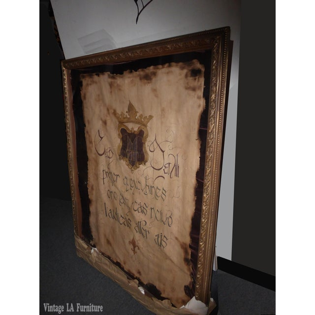 "Large 60""x47"" Shadow Box Wall Mantle Picture Framed on Canvas Pirate Latin Saying - Image 3 of 10"