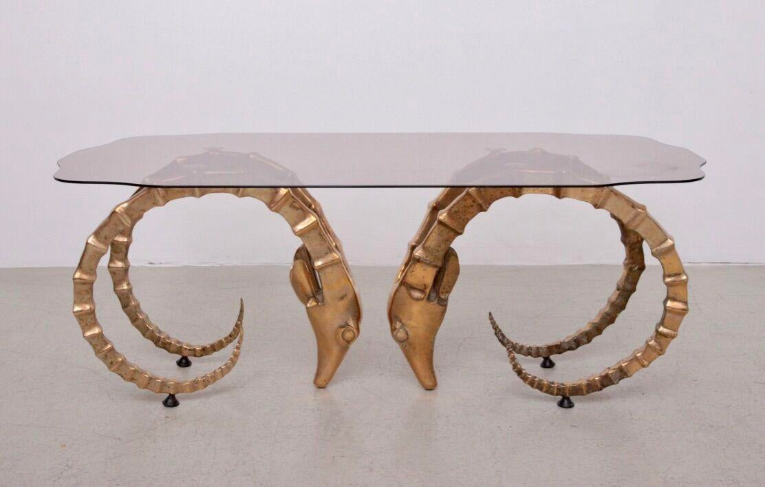 Superieur Brass And Glass Ramu0027s Head Or Ibex Coffee Table In The Style Of Alain  Chervet