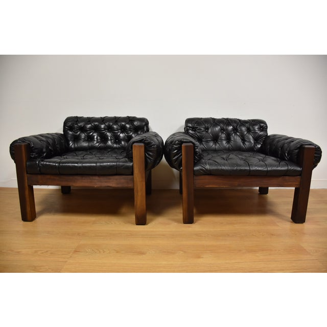 Tufted Leather Lounge Chairs - a Pair - Image 3 of 10