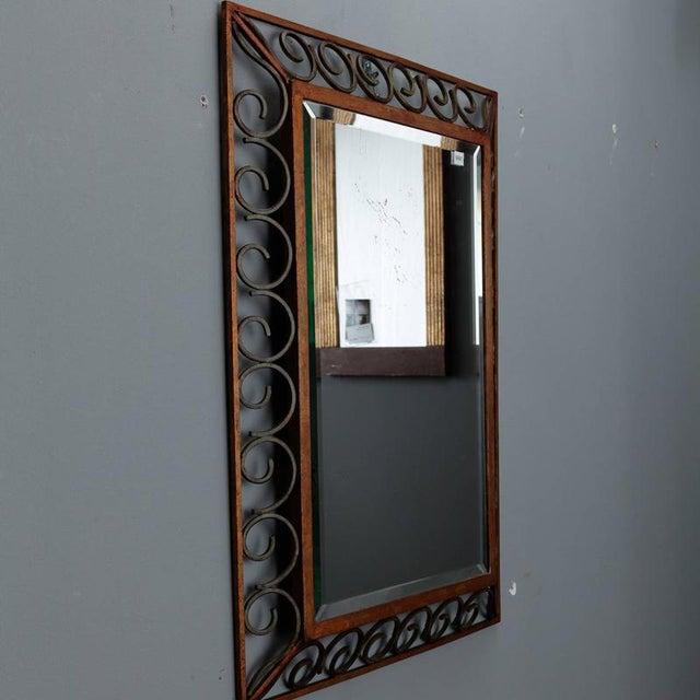Art Deco Art Deco Gilt Iron Framed Rectangular Mirror For Sale - Image 3 of 7