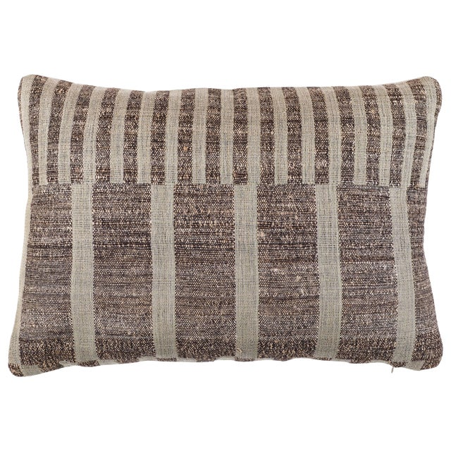 Indian Handwoven Pillow Mondrain Check For Sale