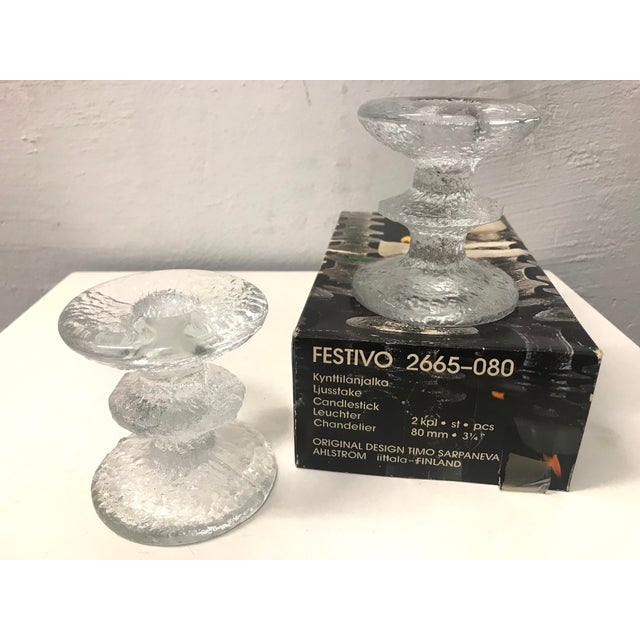 Timo Sarpaneva 1960s Timo Sarpaneva for Iittala of Finland - a Pair of Brutalist Glass Candleholders and the Original Box For Sale - Image 4 of 8