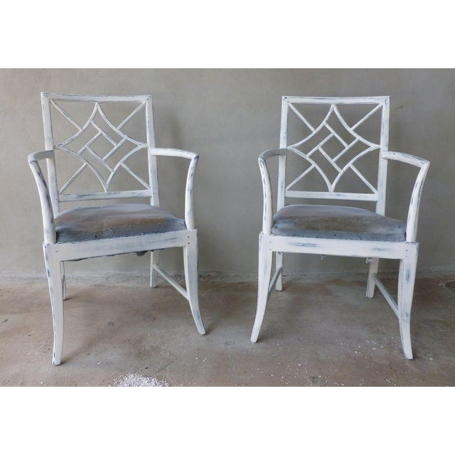 White 1970s Vintage Chinese Chippendale Armchairs - a Pair For Sale - Image 8 of 8