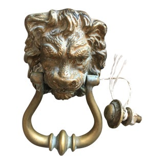 Antique English Victorian Lion Head Door Knocker For Sale