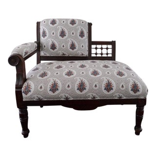 Vintage Eastlake Style Settee Upholstered in Tilton Fenwick Fabric