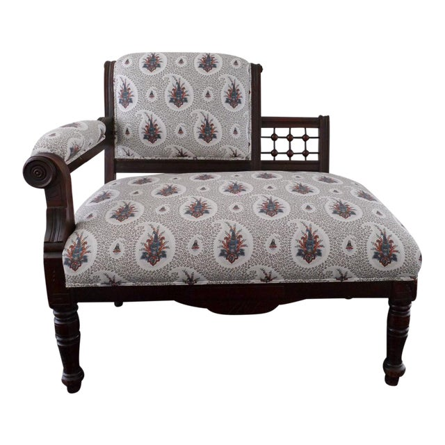 Vintage Eastlake Style Settee Upholstered in Tilton Fenwick Fabric - Image 1 of 8