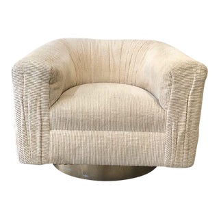 1980s Vintage Babosky LA Ivory Swivel Barrel Chair For Sale
