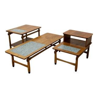 Lane Alta Vista Tile Top Coffee & End Tables - Set of 3 For Sale