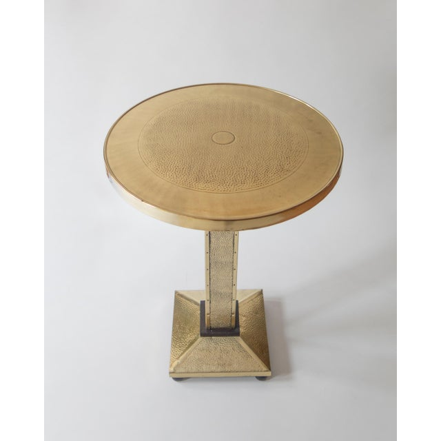 Traditional Rare Secessionist Hammered Brass and Painted Pedestal Table For Sale - Image 3 of 6