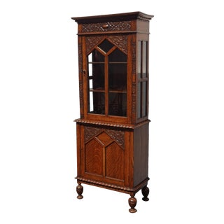 Antique Spanish Style Curio Display Cabinet W Storage ~ French Country For Sale