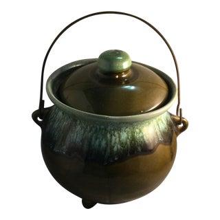 Vintage Hull Usa Green Drip Glaze Pot For Sale