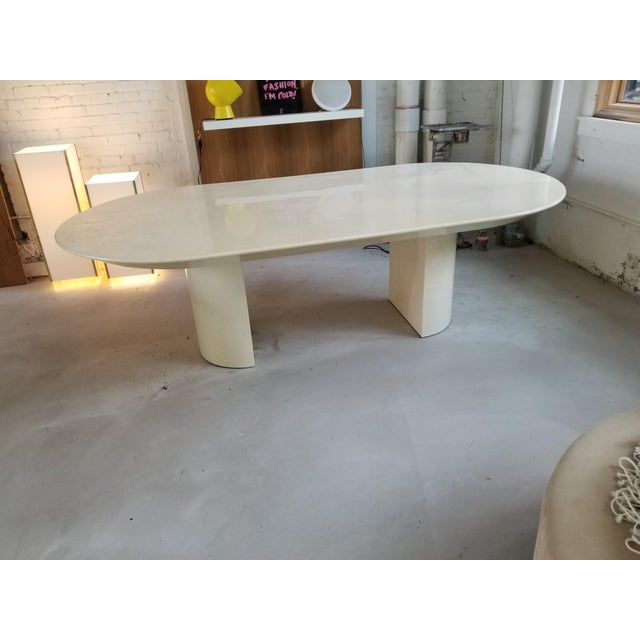 "Karl Springer ""Knife Edge Dining Table"" in Lacquered Goatskin by Karl Springer For Sale - Image 4 of 5"