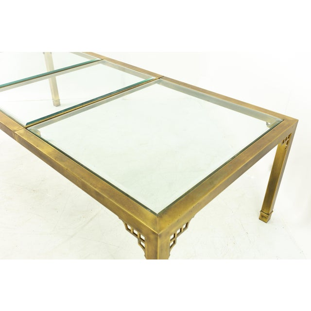 Brass Mastercraft Mid Century Solid Brass and Glass Expanding Dining Table For Sale - Image 8 of 13