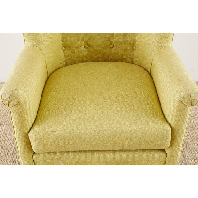 Early 21st Century Westcott Citron Linen Wing Chair by Bunny Williams For Sale - Image 5 of 13