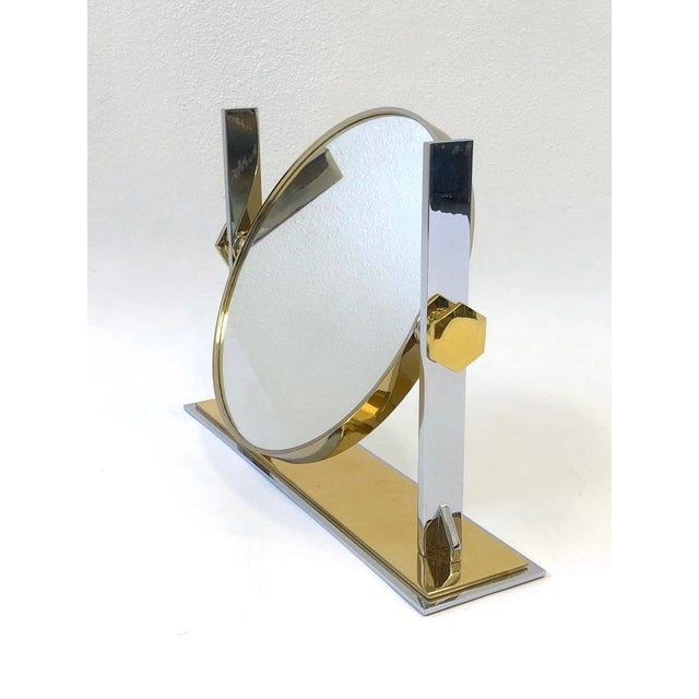 Brass Brass and Nickel Vanity Mirror by Karl Springer For Sale - Image 7 of 10