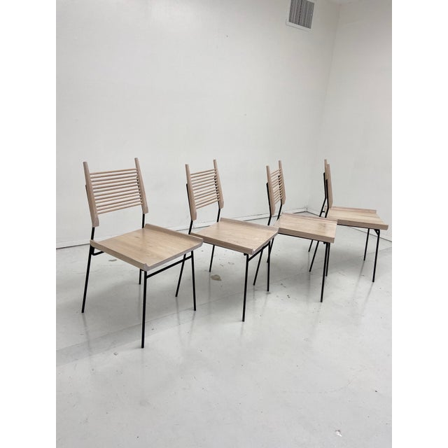 Paul McCobb Style Oak and Iron Chairs- Set of 4 For Sale - Image 13 of 13