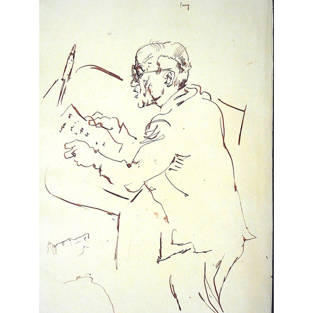Illustration Original Vintage Mid 20th Century Drawing-D. Fredenthal-Listed American Artist-Judaica-U.N. Suez Crisis For Sale - Image 3 of 5