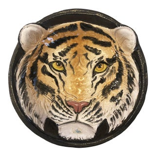 Vintage Italian Ceramic Tiger Dish Bowl Wall Hanging Decor For Sale
