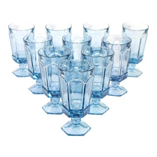 Vintage American Fostoria Pale Blue Glasses - Set of 10 For Sale