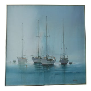Vintage Mid-Century Kerry Hallam Sailboats Moored in the Harbor Painting For Sale