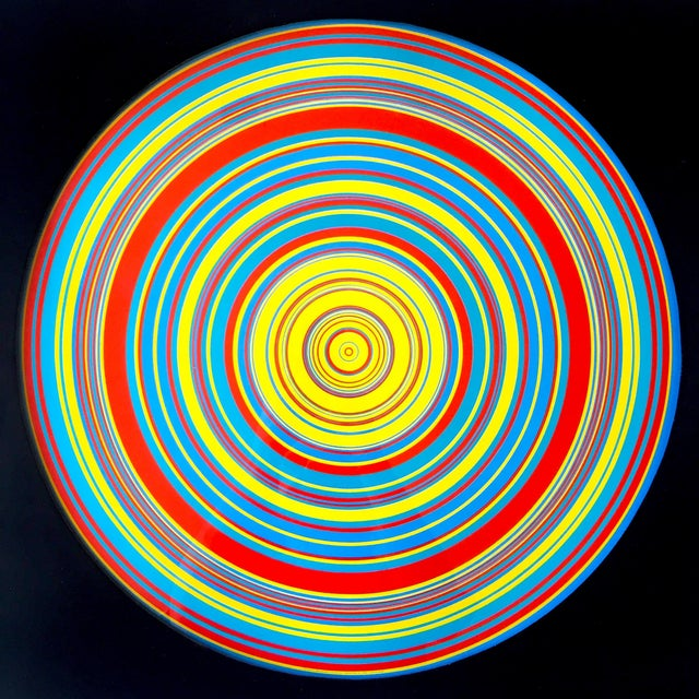 "Various Artists "" Tadasky "" Tadasuke Kuwayama Rare Vintage 1968 Mid Century Modern Framed Op Art Lithograph Print "" Whirling Circles "" For Sale - Image 4 of 13"