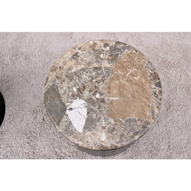 Brown Mid Century Modern Paul Mayen Style Brown Marble Top Drum Side Tables - a Pair For Sale - Image 8 of 13