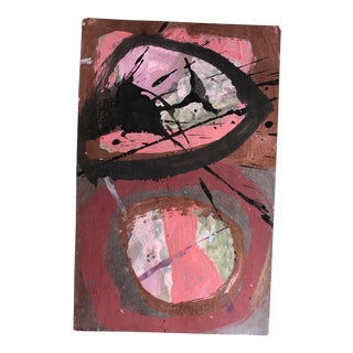 Vintage Original Abstract Painting on Paper 1980's For Sale