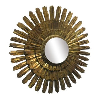 Gold Sunburst Mirror For Sale