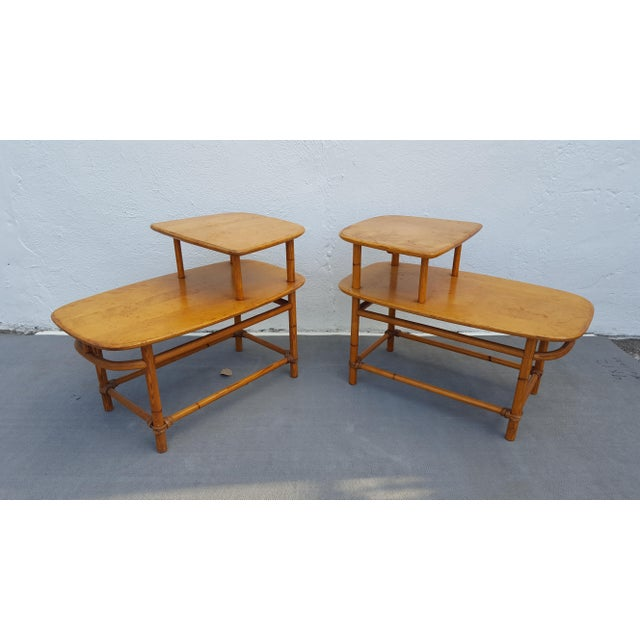 Heywood - Wakefield Two Tier Side Tables a Pair For Sale - Image 13 of 13