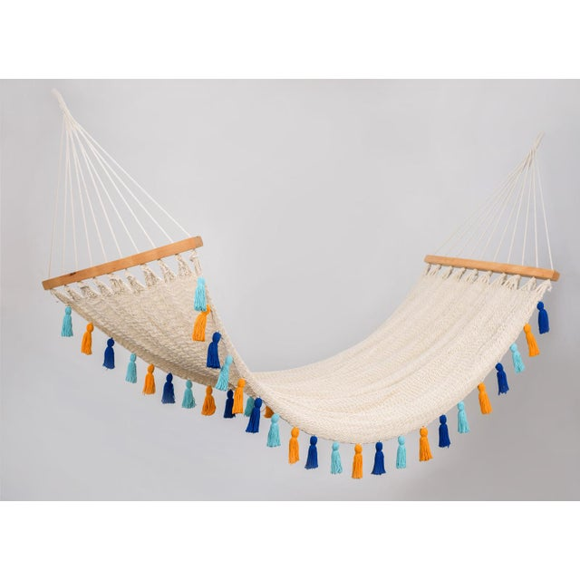 2020s Handmade Handmade Deluxe Natural Cotton Hammock with Hue Inspired Tassels with Wooden Bar For Sale - Image 5 of 7