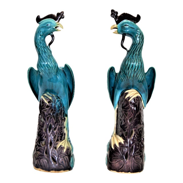 Extra Large Antique 1940s Chinese Porcelain Phoenix Bird Figurines - a Pair-Oriental Sculpture Asian Mid Century Modern Palm Beach Tropical Parrots For Sale