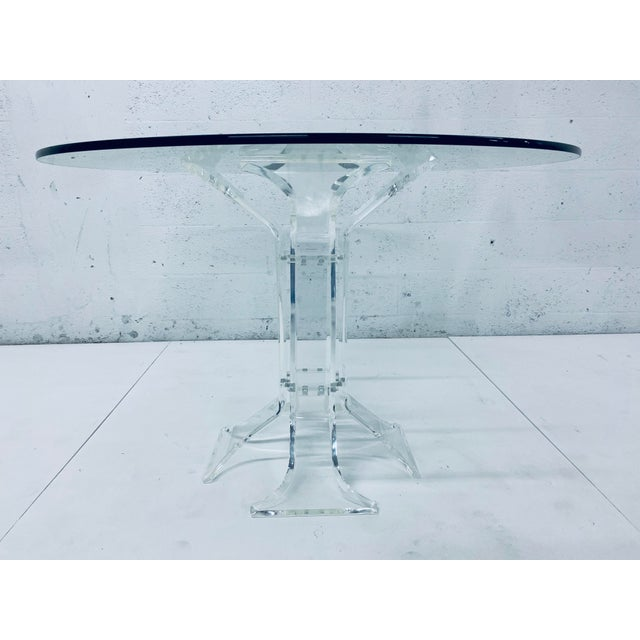 "Mid-Century Verano lucite dining table with 1/2"" round glass top. Signed Verano & VJJ 1977."
