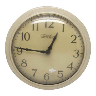 Warren Telechron Co. Tan Wall Clock For Sale