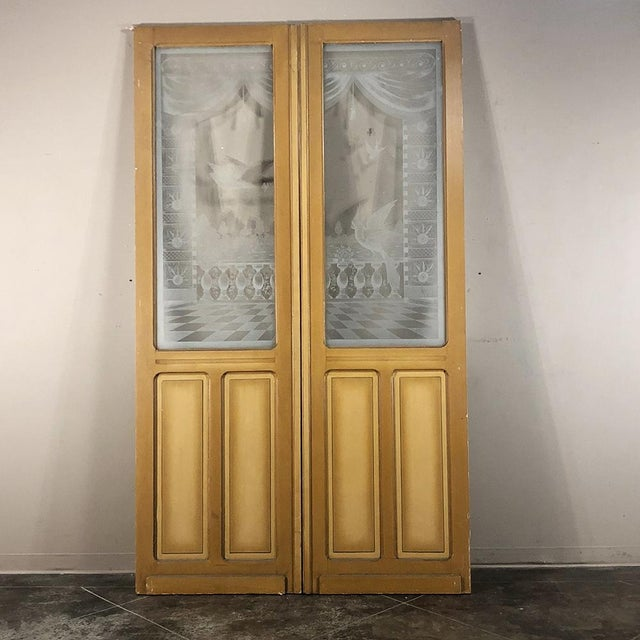 Pair 19th Century Etched Glass Interior Doors For Sale In Baton Rouge - Image 6 of 12