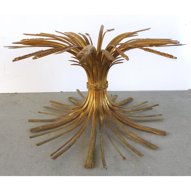 """Metal Italian Gilt Iron """"Coco Chanel"""" Style Wheat Sheaf Coffee Table For Sale - Image 7 of 10"""