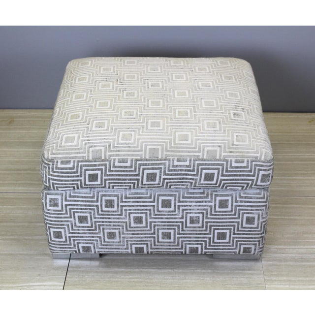 Mid Century squared ottoman beautifully upholstered in a gray chenille with beautiful chrome feet Minor wear, in great...