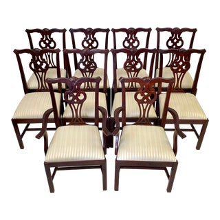 Vintage Mahogany Lexington Furniture Chippendale Dining Chairs - Set of 10 For Sale